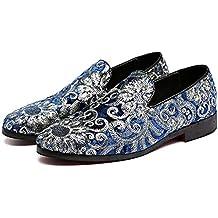54ed96fff65 Feidaeu Hommes Chaussures De Broderie en Cuir Bout Pointu Classique Mariage  Slip-on Penny Casual