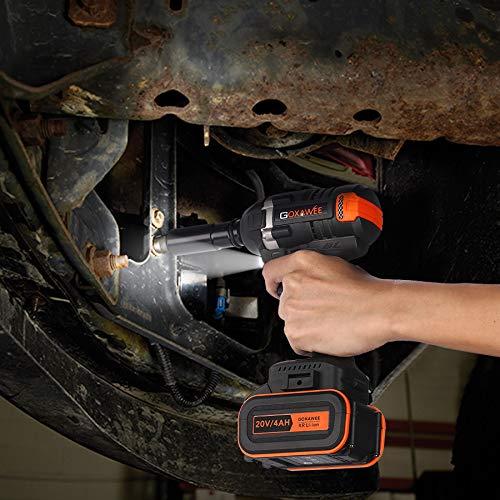 GOXAWEE Akku Schlagschrauber 20 Volt / 4 Ah Akku, max. 300 Nm, bürstenlos, mit Werkzeugkoffer - 8