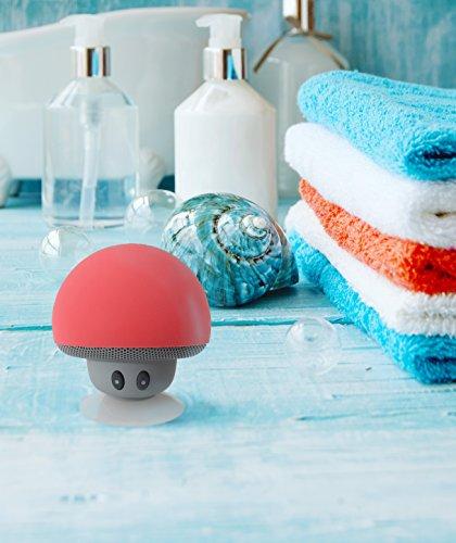 Mobiler Tragbarer Bluetooth Lautsprecher Pilz Speaker Boombox mit 3W und Freisprecheinrichtung, pink