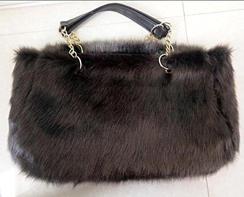 Otomoll Weibliche Koreanische Fashion Handtasche Tasche Winter Kette Tasche Umhängetaschen Gray-Green
