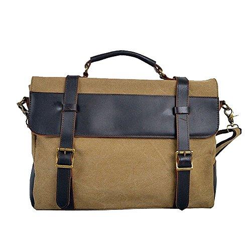 Paonies Herren Canvas Leder Messenger Bag Handtasche Aktentasche Umhängetasche (Grau) Khaki