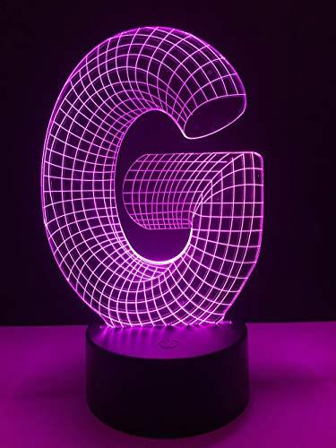 Einzigartige 3D Lampe Alphabet G Multicolor USB RGB LED Nachtlicht Schreibtisch Home Bar Dekor Weihnachten RC Geschenk Leuchtkasten KINDER SPIELZEUG