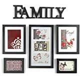 @Home Family Plastic Photo Frame (26.5 cm x 20.5 cm x 19.99 cm, Black, Set of 5)