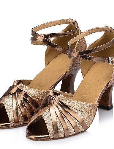 ShangYi Chaussures de danse ( Argent / Or ) - Non Personnalisables - Talon Bottier - Cuir / Similicuir / Paillette Brillante / Synthétique - Silver