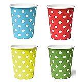 50 x Becher 200ml dots (blau, gelb, grün, rot) Punkte, Pappbecher, Einwegbecher für Getränke Snacks Heiß- und Kaltgetränke