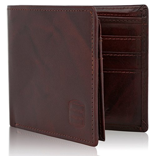 Suvelle Bifold Mens Genuine Leather RFID Blocking Slimfold Travel Wallet WR98 ... (Security Card Shield)