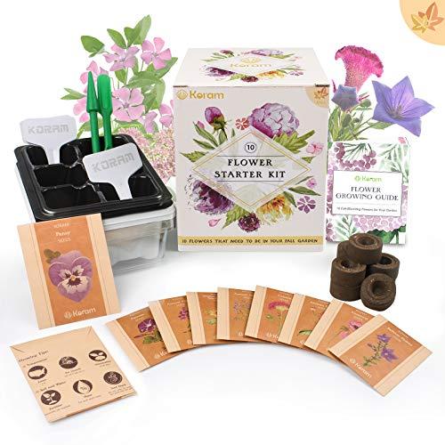Koram Flower Starter Kits Hausgarten Kit - 10 Bio-Herbst Blumensamen-Pakete DIY Inside Garden Set Anbau-Kit mit allem, was ein Gärtner zum Anbau von Stiefmütterchen, African Daisy -
