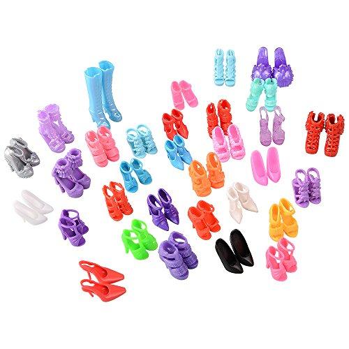 ASIV 60 Paar modische High Heel Schuhe Zubehör für Barbie Puppen Mädchen Weihnachtsgeschenk (zufällige Stil) (Mädchen-kleid-schuhe)