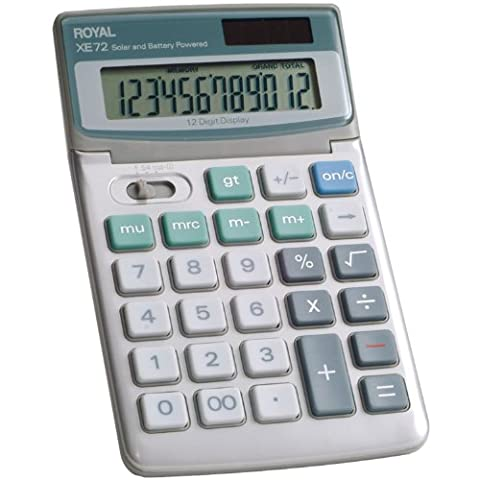 Royal XE72 calculator - calculators (Desktop, Battery/Solar, Basic calculator, Grey, Buttons,