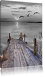 schöner Steg mit Vögeln schwarz/weiß Format: 80x60 auf Leinwand, XXL riesige Bilder fertig gerahmt mit Keilrahmen, Kunstdruck auf Wandbild mit Rahmen, günstiger als Gemälde oder Ölbild, kein Poster oder Plakat