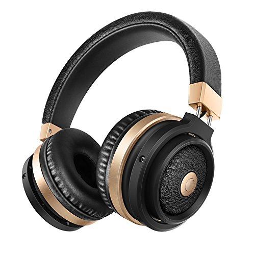 Über Ohr Bluetooth Kopfhörer Mit Mikrofonen, Active Noise Cancelling Stereo Wireless Headset Ergonomisch Entworfen mit Soft Ohrenschützern, 8 Stunden Spielzeit und Hand-Free Calling Passt für Workout und Gym (Schwarzes (Schwarz Und Gold Passt)