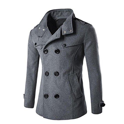 Koly_Uomini Autunno Inverno doppia fila tasto di collare di lana del cappotto (M, GRIGIO)