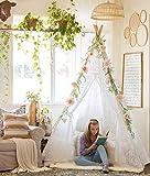 Tipi Zelt für Kinder, 5-seitiges Luxuriöses Spitzenstoff Zelt für den Innen- und Außenbereich (XXL-Große 2,1 m Hoch) | Hochzeit, Geburtstag, Nickerchen, Fotografie Dekor | Mädchen & Jungen