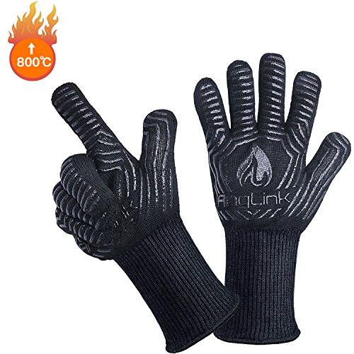 AngLink Grillhandschuhe, BBQ Handschuhe bis zu 800°C 1 Paar Rutschfeste Hitzebeständiger Handschuhe mit Silikon Ofenhandschuhe Topfhandschuhe Backhandschuhe für Grill Kochen Backen und Schweißen 33CM