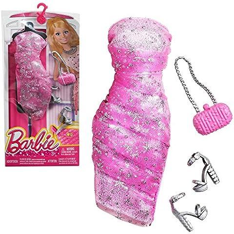Barbie Moda Modista rosa Vestido con accesorios y brillantina