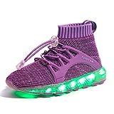 EIGHT KM EKM7016 Niños y Niñas Light Up Zapatos con Carga USB LED 7 Colores de Luces Zapatillas Purple 33
