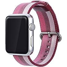 Correa para Nylon Apple Watch 38mm, Magiyard Reemplazo & Adjustable Nilón Strap Band (38mm, Rosa)