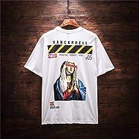 DTX Moda Simple Camiseta de Los Hombres de la Calle Tendencia de Los Hombres Digital Offset Hip Hop Personalidad Manga Corta Verano, Blanco, XXL