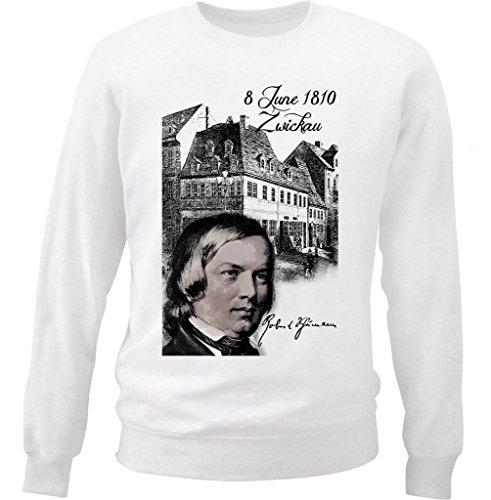 Teesquare1st Men's ROBERT SCHUMANN COMPOSER White Sweatshirt