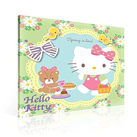 Hello Kitty Leinwand Bilder (PPD642O2FW) - Wallsticker Warehouse - Size O2 - 80cm x 80cm - 230g/m2 Canvas - 1 Piece