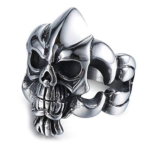 HKDEB Titanstahlringe für Männer Schädel Skeleton Schädel Titan Ringe für Männer Comfort Fit - Schädel-ringe-titan