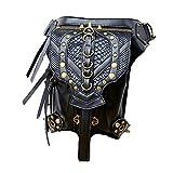 Steampunk Damen Herren Multifunktional Schwermetalle PU Leder Hüfttaschen Schwarz Rucksäcke Gothic Frauen Schultertasche Mit Nieten