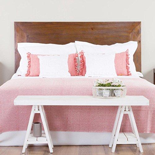 Par Bett-Kopfteil 150/160 - Holz - 162x3x120 cm - Farbe Teak (Kopfteil Bett Rustikales)