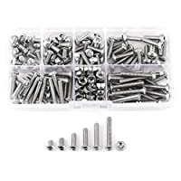 Walfront 170pcs M4 Stainless Steel SS304 Hex Socket Button Head Bolts Screws Nuts Assortment Kit with Storage Box