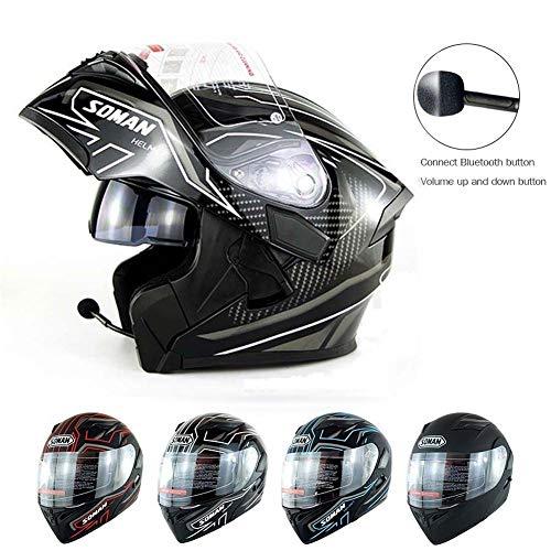 HZL01 Bluetooth Klapphelm Motorradhelm mit Sonnenblende - Durchsichtig Dual Lens -Flip Up Full Face Motorrad Sturzhelm- für Damen Männer Frauen ATV/MTB/MX/DH/UTV/Enduro Black White-M