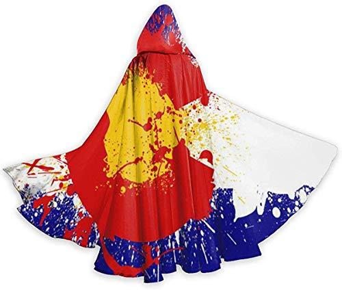 remmber me Colorado Flagge von Monogatari Okami Erwachsenen Mantel Unisex Halloween Robe Ganzkörperansicht Kapuzenmantel für Weihnachten Cosplay Party Schwarz 59x15.8 inch