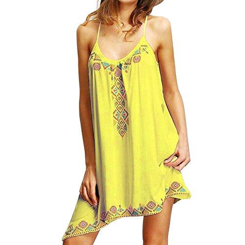 Damen Kleider Neckholder Sommer Elegant Strand Party Frauen Mini Kleid DOLDOA - Bordeaux-mini-anhänger