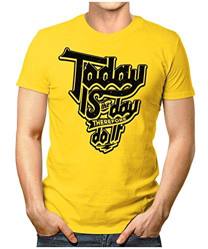 PRILANO Herren Fun T-Shirt - TODAY-DO-IT - Small bis 5XL - NEU Gelb