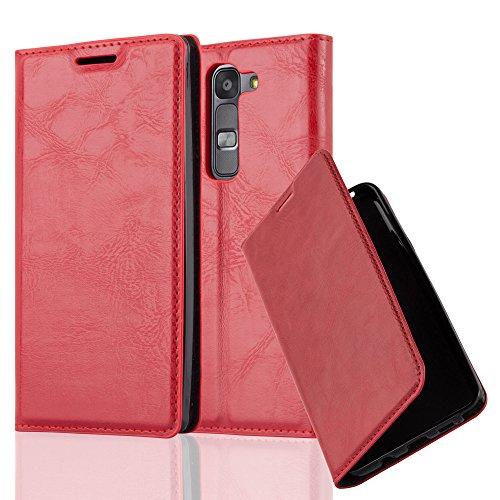 Cadorabo Hülle für LG G4C / G4 Mini/Magna - Hülle in Apfel ROT - Handyhülle mit Magnetverschluss, Standfunktion & Kartenfach - Case Cover Schutzhülle Etui Tasche Book Klapp Style