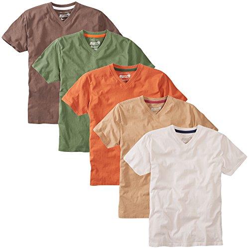 Charles Wilson 5er Packung Einfarbige T-Shirts mit V-Ausschnitt Mixed Earth
