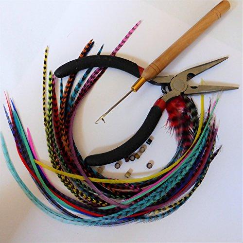 Kit complet pose 20 Extensions plumes naturelles Mix couleurs XXL 25-32 cm 100% naturel pour cheveux + anneaux fixation offerts+ outils