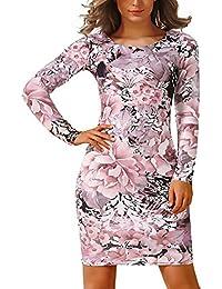 e9af7cfd26b9e Donna Abito da Tubino Elegante Corte Stampati Floreale Vestiti da Giorno  Grazioso Moda Manica Lunga Rotondo