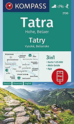 KOMPASS Wanderkarte Tatra Hohe, Belaer, Tatry, Vysoké, Belianske: 3in1 Wanderkarte 1:25000 mit Aktiv Guide inklusive Karte zur offline Verwendung in ... Skitouren. (KOMPASS-Wanderkarten, Band 2130)