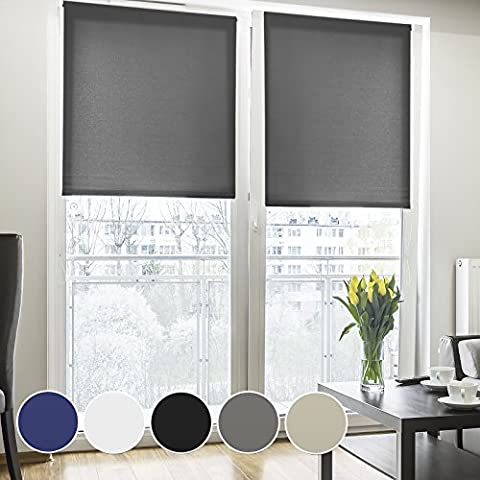 Fensterrollo lichtdurchlässig | zum Bohren | Rollo für kleine und große Fenster und Türen | Sichtschutzrollo in vielen Farben und Größen ( Grau, 160 cm breit, 230 cm lang )