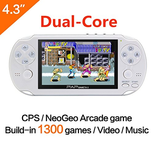 64Bit Consola de juegos de mano 4.3 pulgadas Built-in 650no Repetir Juego clásico Soporte AV Cable Consolas de juegos portátiles CPS / NEOGEO / GBA / SFC / MD / FC / GBC / SMS / GG / GB Juegos de arcada y cámara de música de vídeo (Negro) (White)