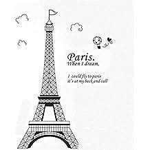 Pegatina de pared adhesivo decorativovista de Paris Torre Eiffel color negro