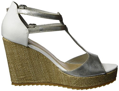 s.Oliver 28316, Sandales Bout Ouvert Femme Argent (SILVER/WHITE 950)