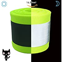 OOKOO - Cinta de seguridad reflectante de tela apta para coser a la ropa con área reflectante grande, color verde, 16.5 ft, Green-16.5ft