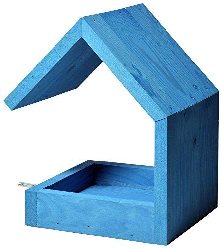 Luxus-Vogelhaus 38463e Vogelfutterhaus aus Holz zum Hängen mit Satteldach und Anflugstange (Vogelhaus), azurblau - 3