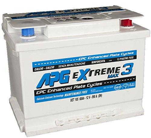 APG XET105 Extreme 3 Max - Batteria auto adatta anche per veicoli con sistema START & STOP in acido libero, 68Ah