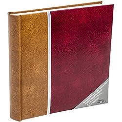 album photo détient jusqu'à 300 photos de 4 x 6 (10x15cm). huit lignes mémo pour ajouter du texte à vos images et chaque page contient trois photographies avec des sections de glissement (rouge)