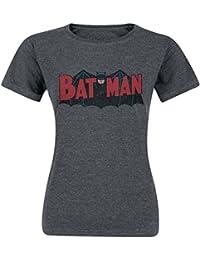 Batman Authentic Logo T-shirt Femme gris sombre chiné