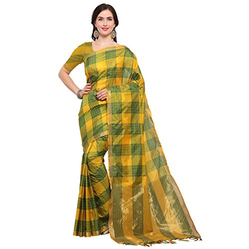 Kimisha Yellow & Green Silk Blend Ikat Saree