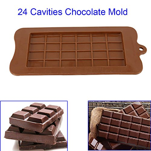 Fishyu 24 Cavity Silicone Chocolate Mold Candy Maker Sugar Mould Bar Block Ice Tray Cake Bakeware Kitchen Baking Tool (Mold Bogen Candy)