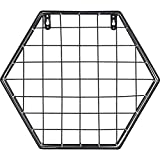 G-wukeer Estante de Pared, Hierro Creativo Rejilla Hexagonal Parrilla de Pared Combinación de Pared Colgante Patrón geométrico Pared Periódico Rack Estantería