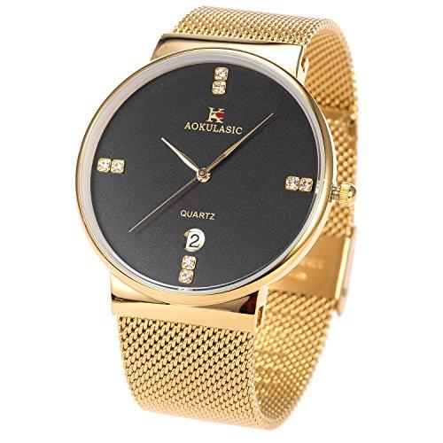 Gold Armbanduhr Männer Mesh Edelstahl Band Datum SIBOSUN Japanese Quarzwerk minimalistisch Kristall - Das Von Halloween Datum Wirkliche